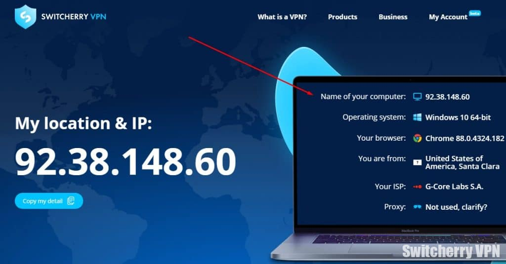 My IP address with a VPN for the USA