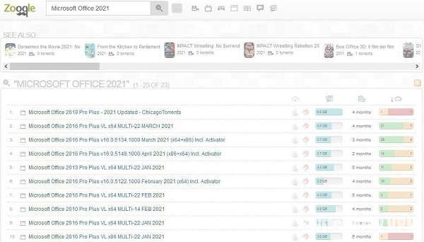 Search results for Microsoft Office 2021 on Zooqle
